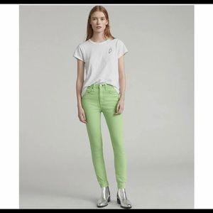 Rag and Bone High Rise Skinny Lime Jeans